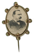 Political:Ferrotypes / Photo Badges (pre-1896), Cleveland Oval Cardboard Stickpin. This cardboard portrait ofCleveland is set into a bronze oval with a beaded frame. The p...