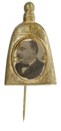Political:Ferrotypes / Photo Badges (pre-1896), Grover Cleveland Portrait Mounted in a Brass Backing Shaped Like aBroom Made to promote Cleveland for President in the 1884...