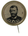 Political:Ferrotypes / Photo Badges (pre-1896), Grant Ferrotype Badge. Contains a bold ferrotype portrait within areeded frame with pin attachment on reverse. The portrait...