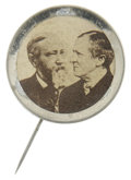 Political:Ferrotypes / Photo Badges (pre-1896), Benjamin Harrison/Levi Morton Jugate Photo Pinback. Brass-rimmed itappears to be from his first campaign in 1888 with Levi ...