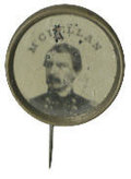 Political:Ferrotypes / Photo Badges (pre-1896), George McClellan Ferrotype Pinback. 1864 presidential candidateGeorge McClellan pictured here on a small pinback button bac...