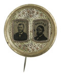 Political:Ferrotypes / Photo Badges (pre-1896), Grant/Colfax Jugate Ferrotype Pinback. Grant and Colfax arepictured on this fancy brass jugate pin. Grant's picture is in g...