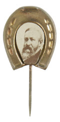 Political:Ferrotypes / Photo Badges (pre-1896), Benjamin Harrison Portrait on Horseshoe Pinback. Possiblydistributed for the 1888 presidential election campaign thisbutto...
