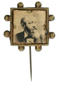 Political:Ferrotypes / Photo Badges (pre-1896), Harrison Brass Bust Stickpin. Brass stickpin with the bust ofBenjamin Harrison adorning the top in brass relief. This item ...
