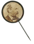 Political:Ferrotypes / Photo Badges (pre-1896), Garfield cardboard stickpin. Pin measures 23mm. Contains a large,bold portrait of Garfield within a plain brass rim. There ...