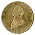 """Political:Tokens & Medals, 1860 John Bell """"The Constitution and the Union Now and Forever"""" Brass Token. Measures 28mm and is listed as Bell 1860-7. Die..."""