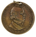 Political:Tokens & Medals, 1872 Greeley/Brown Amnesty Silvered Brass Medalet. This 24mm holed medalet features a high relief portrait of Greeley on the...