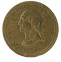 Political:Tokens & Medals, 1860 Lincoln Brass Token Muled with Bramhall Advertisement Mule. This 19mm brass medalet features the scarce advertisement m...