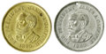 """Political:Tokens & Medals, 1880 Pair of Garfield """"For President James A. Garfield"""" Medalets in Brass and White Metal. Sullivan JG 1880-4. This scarce m..."""