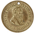 """Political:Tokens & Medals, 1861 Lincoln """"War of 1861"""" Brass Dog Tag Medal. Measures 30mm. This gilt brass medal features a bust of Lincoln facing right..."""