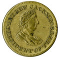 "Political:Tokens & Medals, 1834 Andrew Jackson ""Hard Times"" Brass Token. This particular pro-Jackson token measures 28mm and is listed as Sullivan-Dewi..."
