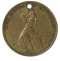 """Political:Tokens & Medals, 1860 Lincoln """"The Great Rail Splitter"""" Brass Token. Measures 28mm. One of the great politicals! The classic """"Rail Splitter"""" ..."""