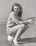 Photographs:20th Century, ANDRE DE DIENES (American, 1913-1985). Marilyn Monroe (TobeyBeach), 1945. Gelatin silver. 13-1/2 x 10-3/4 inches (34.3 ...
