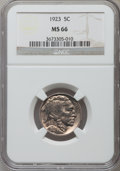 Buffalo Nickels: , 1923 5C MS66 NGC. NGC Census: (39/9). PCGS Population (144/14).Mintage: 35,715,000. Numismedia Wsl. Price for problem free...