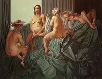 LUI LIU (Chinese, b. 1957) Story of Golden Apple vs. History of Siren's Appeal, 1994 Oil on canvas
