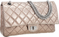Chanel Metallic Pewter Quilted Antiqued Leather Medium Double Flap Bag with Silver Hardware