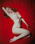 Photographs, TOM KELLEY (American, 1914-1984). Marilyn Monroe on Red Velvet, Pose #1, 1949. Dye-destruction, circa 1990. 36 x 29 inch...
