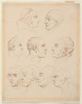 Books:Original Art, Thomas Rowlandson, artist (1756-1827). Original Pen and Ink SketchDepicting Men's Faces. N.d., ca. late-18th century. 7 x 8...