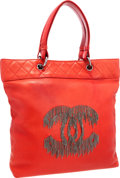 Luxury Accessories:Bags, Chanel Red Lambskin Leather Large Rock & Cabaret Tote withGunmetal Fringe. ...