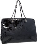 Luxury Accessories:Bags, Chanel Black Patent Leather Oversize CC Tote Bagwith SilverHardware. ...