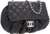Chanel Black Quilted Lambskin Leather Large Chain Around Crossbody Bag