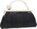 Luxury Accessories:Bags, Gucci Black Ostrich Leg Mini Clutch Bag with Silver Top Handle& Crystals. ...