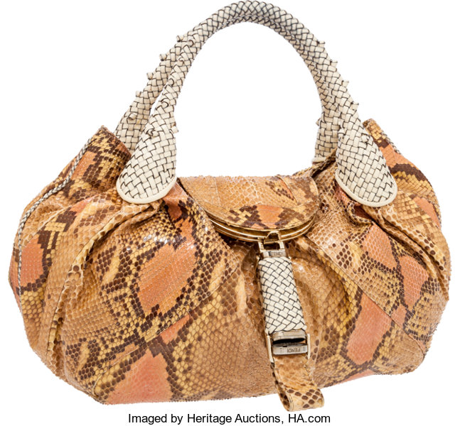 fefc9db62212 Fendi Blush   Beige Python and Leather Spy Bag. ... Luxury