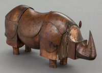 FRANÇOIS-XAVIER LALANNE (French, 1927-2008) Rhinocéros mécanique, 1980 Patinated copper 9-1/2 x 2...