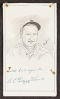 Autographs:Others, Signed Dazzy Vance Signed Original Artwork. ...