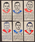Hockey Cards:Lots, 1962/63 York Peanut Butter Iron-On Hockey Transfers Group (6). ...