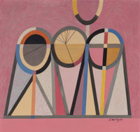 S. NEIL FUJITA (American, 1921-2010) Untitled (Three Figures), circa 1959 Mixed media on board Si