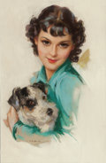 Paintings, JULES ERBIT (American, 1889-1968). Young Woman with Her Dog, calendar illustration, circa 1936. Pastel on board. 23 x 15... (Total: 3 Items)