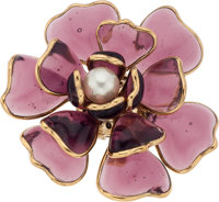 Chanel Spring 2005 Purple Gripoix & Glass Pearl Brooch