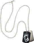 "Luxury Accessories:Accessories, Chanel Silver & Black Lucite Dogtag Necklace. ExcellentCondition. 34"" Length, 2"" Pendant Height. ..."