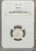 Seated Dimes, 1871 10C MS65 NGC....