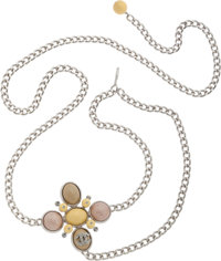 """Chanel Brushed Silver Chainlink Belt with Pastel Cabochon CC Charm Pristine Condition 49"""" Max Len"""