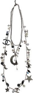 Luxury Accessories:Accessories, Chanel Spring 2008 Gunmetal Star Coco on the Moon Necklace. ...