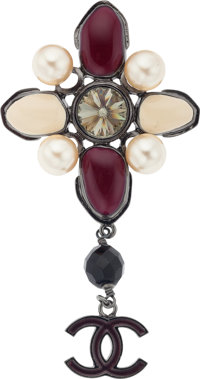"""Chanel Glass Pearl & Burgundy Gripoix Brooch Pristine Condition 2"""" Width x 4"""" Length"""