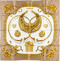 "Luxury Accessories:Accessories, Hermes 90cm Taupe & Gold ""Les Cavaliers d'Or,"" by VladimirRybaltchenko Silk Scarf. ..."