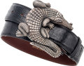 Luxury Accessories:Accessories, Kieselstein Cord Sterling Silver Large Alligator Belt Buckle withBlack Lizard Strap. ...