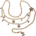 Luxury Accessories:Accessories, Chanel Light Gold Chain Belt with Crystal Flower & CC Charms. ...