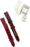 Luxury Accessories:Accessories, Hermes Stainless Steel Cape Cod PM Watch with Three Bands. ...