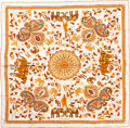 "Luxury Accessories:Accessories, Hermes 90cm Beige & Brown ""Carre Kantha"" Silk Scarf. ..."