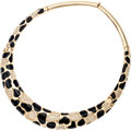 Luxury Accessories:Accessories, Christian Dior Black & Gold Enamel Choker Necklace withCrystals . ...