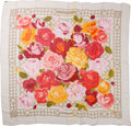 "Luxury Accessories:Accessories, Hermes 140cm Pink, Red & Cream ""Roseraie,"" by ChristianeVauzelles Silk Mousseline Scarf. ..."