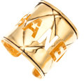 Luxury Accessories:Accessories, Chanel Gold Quilted Cuff Bracelet . ...