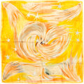 "Luxury Accessories:Accessories, Hermes 90cm Orange & Yellow ""Feux du Ciel,"" by Sefedin IbrahimAlamin Silk Scarf . ..."