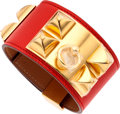 Luxury Accessories:Accessories, Hermes Capucine Swift Leather Collier de Chien Bracelet with GoldHardware . ...