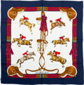 "Luxury Accessories:Accessories, Hermes 90cm Blue & Red ""Jumping,"" by Philippe Ledoux SilkScarf. ..."
