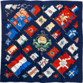 """Luxury Accessories:Accessories, Hermes 90cm Blue & Red """"Pavois,"""" by Philippe Ledoux Silk Scarf...."""